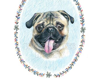 Pug Dog Art Print from Original Drawing , Free Personalization , Wall Decor , 8 1/2 x 11 or 8 x 10
