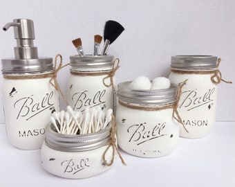 Set of 4/5 Painted Mason Jars. Mason Jar Bathroom Kit. Home Decor. Bathroom Decor. Rustic/Shabby Chic. Wedding/shower/house warming gift.