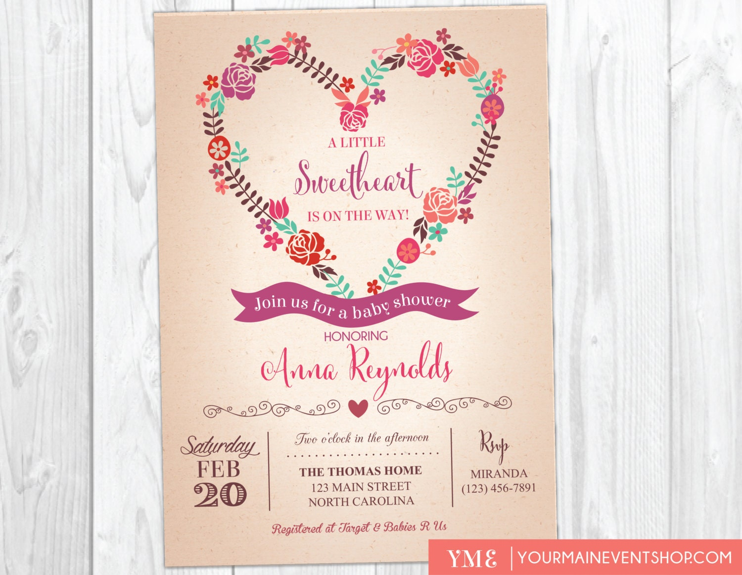 Sweetheart Valentine Baby Shower Invitation | Sweet Heart Girl Baby ...