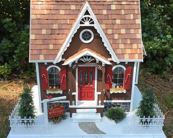 Handcrafted Wooden Santa's North Pole Christmas Dollhouse