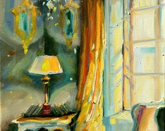 LE RIDEAU JAUNE, Art Print of an original painting by Cecilia Rosslee,sunlit French interior scene,sun drenched couch, yellow and brown