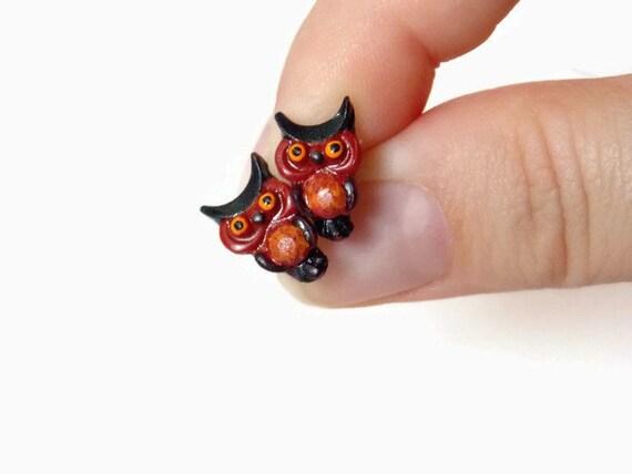 Owl Earrings - Owl Stud Earrings Owl Gifts - Owl Jewelry - Polymer Clay Earrings - Gifts for Owl Lovers - Brown Stud Earrings -Cute Earrings