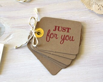 Small Rustic Kraft Just for You Tags | Wedding Tags | Parcel Tags | Gift Packaging | Christmas Tags | Rustic Gift Wrap, Gold Foil Tags, Xmas