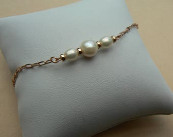 Rose Gold Vermeil Bridal chain link white AA Freshwater Pearls stacking bracelet