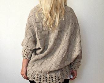 Hand Knitted Cardigan Oatmeal Custom Size Cardigan Blanket Cardigan Plus Size Cardigan Handmade Sweater Womens Cardigan Women Gift for Her