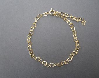 Gold Heart Chain Bracelet / Anklet