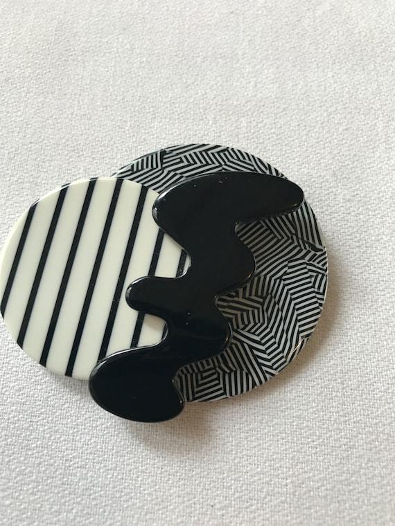 Cool 80s Pop Art Graphic Art New Wave Black & White Geometric Futurisitc Brooch
