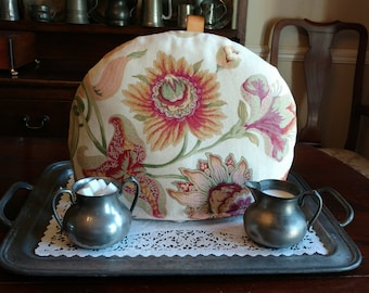 English Traditional Tea Cozy - Vibrant Floral Decorator Fabric Print