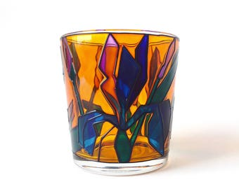 "Stained Glass Vase ""Irises"""