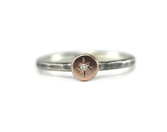 Rose Gold and Oxidized Silver Diamond Ring- stacking ring, 14k rose gold, mixed metal ring, delicate handmade ring, diamond, sterling silver