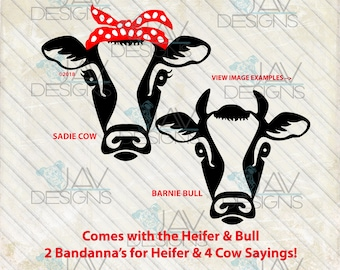 Heifer Cow Sadie and Barnie Bull Rosie SVG, Bandanna cow head, rosie the riveter, cut file, svg png dxf , cow face, farm girl