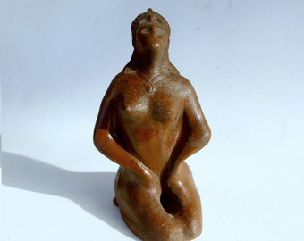Folk Art Sculpture Ceramic Stoneware Goddess Lady Aroma Therapy Original Sculpture