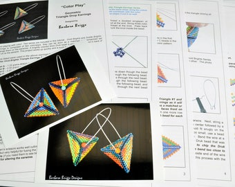 """Tutorial for the """"Color Play"""" Geometric Triangle Drop Earrings"""