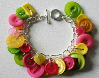 Bright Yellow Pink and Lime Green Button Bracelet