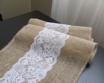 Burlap and Lace Table Runner - Wedding / Event Supplies