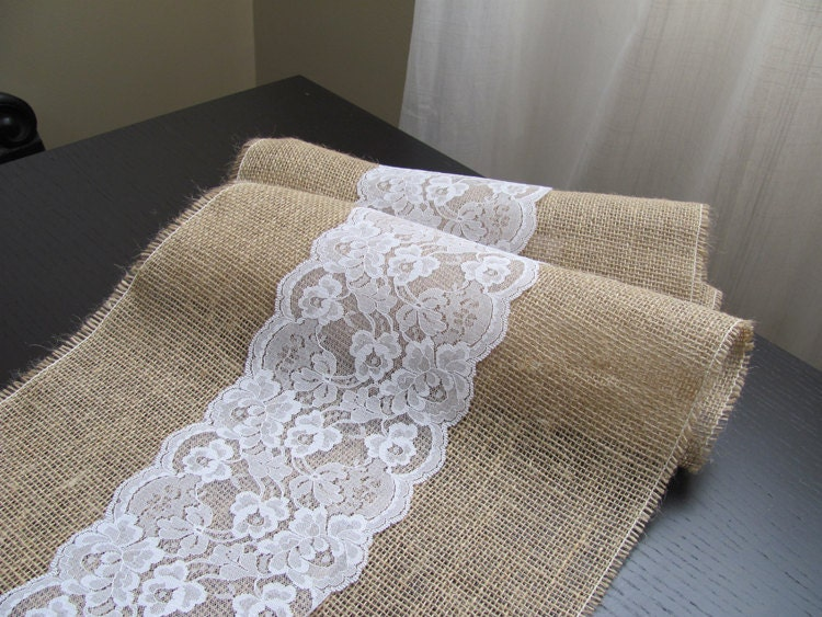 burlap and lace table runner wedding event supplies. Black Bedroom Furniture Sets. Home Design Ideas