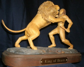 King Of Beasts 12 inch wood carved sculpture by Timothy L Foley