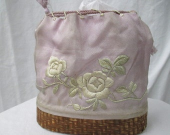 victorian silk bag, vtg drawstring purse, embroidered silk bag, vintage handbag, women's vintage bag, drawstring handbag, silk clutch purse
