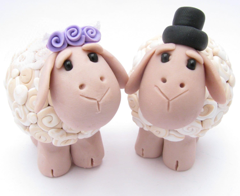 Sheep Love Custom Wedding Cake Topper Polymer Clay Wedding