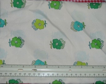 """TURQUOISE GREEN & LIME on Cream Poly Woven Fabric 2 yds x 45"""" wide"""