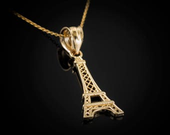 Gold Paris Eiffel Tower Charm Necklace (yellow, white, rose gold, 10k, 14k)