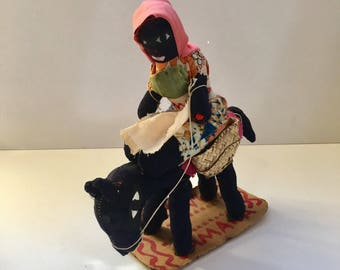 Vintage 1970's Handstich Jamaican Handmade Doll Riding a Horse with Baskets