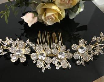 beautiful elegant wedding bridal flower hair comb crystal bridal hair accessory
