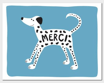 Dalmatian Thanks/Merci Greeting Card