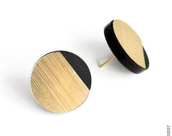 elegant graphic stud earrings - minimal modern design - LOU by alt&GO Paris - made in France