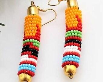 Bohemian Earrings-Masai earrings-African beaded earrings-African masai jewelry-gift for her-zulu jewelry-ethnic jewelry-fine beads-