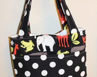 Little Boy Tote in Michael Miller Zoology w/Black/White dot- ready to ship