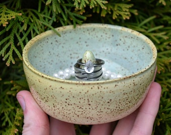 Celadon Speckled Ring and Jewelery Holder