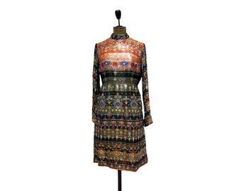 Vintage hippie geometrical flowers silk dress 1970