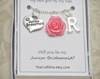 Personalized Junior Bridesmaid Necklace with Color Motif and Initial - J1 - Vintage Inspired Junior Bridesmaid Necklace, Jr Bridesmaid Gift