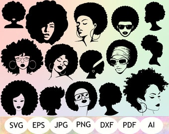 15 Afro Woman SVG, Afro Girl Silhouette, Cricut, Afro Hair, Iron On Files