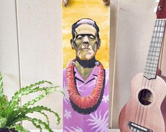 Aloha Frankenstein - Hawaiian Monster with Lei and Aloha Shirt Vintage Rockabilly Wood Sign with Manila Rope Hanger