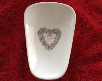 "Ceramic Spoon Rest with White Heart  5"" Long And 3 1/2 Inches Wide at Top of Spoon"