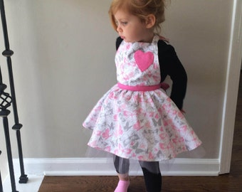 TWIRLY GIRL pink and silver butterfly TUTU apron