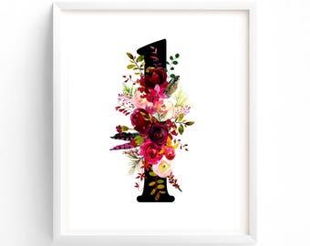 Multi Sizes, Art Prints, Letter L, Nursery Wall Art, Printable Letter Monogram, Floral, Flower Lettering, Nursery Art, Baby monogram