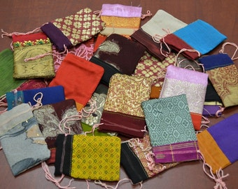 12 Pieces Handmade DRAWSTRING JEWELRY Gift POUCHES 2 x 3 Bags