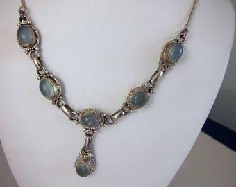 Vintage Blue Moonstone Bezel Set Sterling Necklace