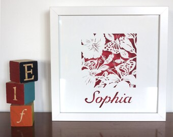 Framed Tropical butterflies personalised papercut - Paper cut art with baby name - Butterfly handcut paper cut personalised - Baby girl boy