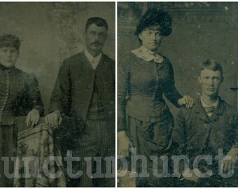 Antique Tintype Photo Lot of 2 Couples