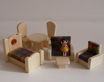 Wooden Toy, Dollhouse Living Room Bedroom Doll Furniture, Gender Neutral Handmade toy, Waldorf Kids gift,Jacobs Wooden Toys