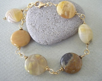 Yellow Botswana Wire Wrapped with Gold Filled Wire Bracelet