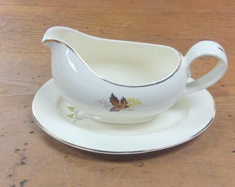 Gravy Boat Leaf o' Gold ~ Taylor, Smith, Taylor ~ Versatile Replacement China