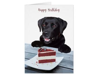 Black Lab Card - Dog Card HB04CK - Birthday Cards - Dog Card Birthday - Dog Rainbow Cake - Dog Birthday Card - Cute Cards - Black Lab Art