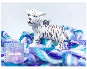 White Bengal Tiger Cub Necklace! Roaring Fiercely Adorable! :) Girls Jewelry Turquoise  Purple Blues Periwinkle