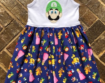 Girls appliquéd Mario Brothers Luigi dress with embroidered name and birthday number