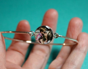 Mothers Day Personalized Picture Mom Sterling Photo Bangle Bracelet, jewelry-gifts-under-50